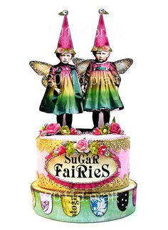 *SuGaR FaiRieS* Handmade by: Debrina Pratt cake tins as the base? Collages, Collage Art, Altered Tins, Altered Art, Vintage Crafts, Vintage Art, Paper Dolls, Art Dolls, Paper Art