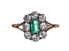 Victorian Emerald and Old Mine Cut Diamond Cluster Ring