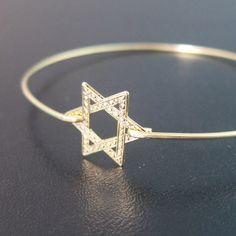 Star of David Bracelet, Star of David Bangle Bracelet, Bat Mitzvah Jewelry, Bat Mitzvah Gift, Jewish Star Bracelet, Star of David Jewelry by FrostedWillow on Etsy https://www.etsy.com/listing/151522674/star-of-david-bracelet-star-of-david