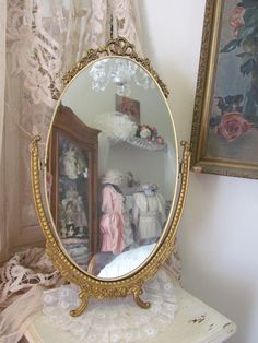 Vintage English Vanity Mirror With Ribbon Top Swivels