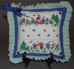 """""""Bunnies"""" vintage handkerchief pillow, button and ribbon details, washable, new #babypillow $25.00 8"""" sq. approx"""