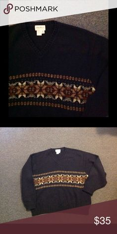 "Eddie Bauer Wool Nordic Snowflake Holiday Sweater Very nice Men's Eddie Bauer sweater. Great for the holidays! Wool blend in size XXL. Great condition. Chest 54"" Length 30"" Eddie Bauer Sweaters"