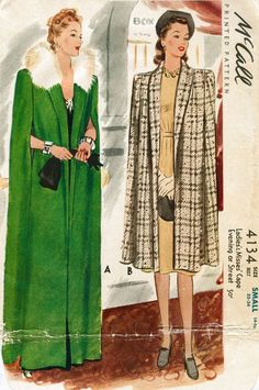 1940s 40s McCall 4134 Vintage Women's Sewing Pattern Fur Collar Cape Day or Evening size small Bust 32 - 34 repro reproduction