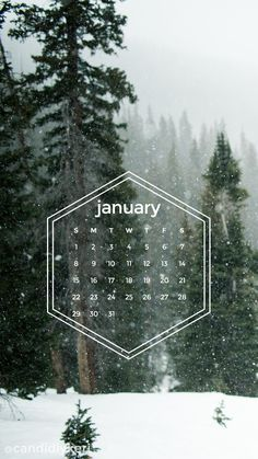 Snow forest pine trees snowing geometric January calendar 2017 wallpaper you can download for free on the blog! For any device; mobile, desktop, iphone, android!