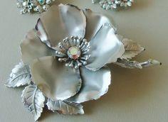 @Katie Casteel  Vintage Jewelry Wedding Bridal Rose Hair Clip Crystal RePurposed Vintage Coro Brooch Pin. $19.95, via Etsy.