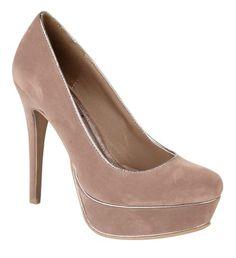 Anne Michelle Ladies nude suedette high heel platform fashion court shoe