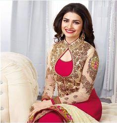 Prachi Desai pink color embroidery georgette straight suit
