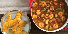 Shrimp, Andouille, and Okra Gumbo Creole Recipes, Cajun Recipes, Seafood Recipes, Cooking Recipes, Cajun Food, Okra Gumbo, Shrimp Gumbo, Seafood Gumbo, Louisiana Recipes