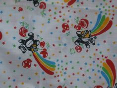 Cute Panda with Rainbow Novelty Print Fabric Retro Mushrooms, Stars, Bears