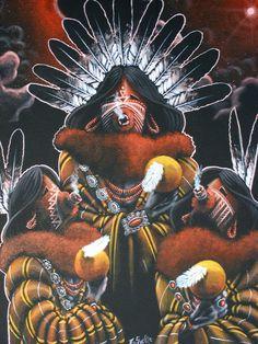 """Yei'Bi'Cheis"" by Raymond Succo  This piece was painted by Navajo artist Raymond Succo and depicts a beautifully painted Yei'Bi'Chei Kachina."