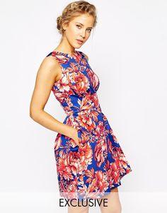 Closet - Robe patineuse avec dos decouvert et imprime fleurs de couleur vive chez ASOS mode femme fashion