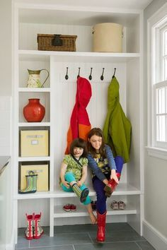 Instead of front closet? this mudroom built-in holds cubbies and a boot bench for kids. Entry Closet, Front Closet, Double Closet, Mudroom Laundry Room, Closet Mudroom, Mudroom Cubbies, Shoe Closet, Mudroom Storage Ideas, Closet Bench