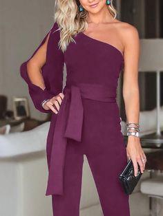 Stylish One Shoulder Slit Sleeve Black Jumpsuit