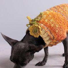 Pumpkin and Yellow Speckled XXS Dog Sweater by HepzibabaBowWow