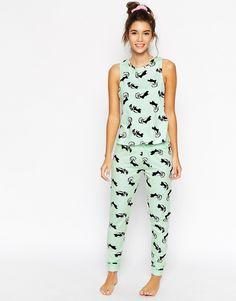 Image 1 of ASOS Skunk Print Pajama Tank & Legging Set