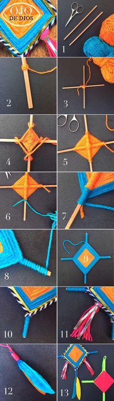 Instructions on how to make ojo de dios for homeschool or classroom!
