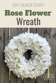 Learn how to make this beautiful rose flower wreath for your front door. Simply stunning and classic the wreath is great for weddings, baby showers or just around the house. Check out these step by step instructions and a VIDEO demonstration that will guide you through your DIY summer wreath projects! Wreath Crafts, Diy Wreath, Wreath Ideas, Door Wreaths, Burlap Wreath, Silk Flower Wreaths, Floral Wreath, Simple Rose, Easy Rose