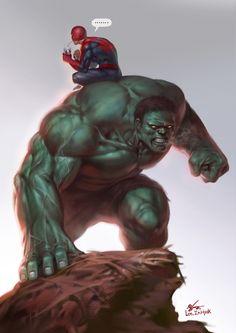 07.19.2015 Hulk & Spidey 딱히 생각 나는게 없으면 일단 그냥 헐크를 그려. 다 그렸는데 빈칸이 남으면 스파이디를 넣고. 그럼 둘다 뻘쭘해지니까 그러면 안...