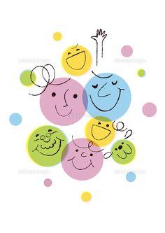 丸の2世帯家族の顔と犬 (c)Formmart Illustration Art, Doodles, Typography, Collage, Nursery, Logos, Crafts, Design, Letterpress