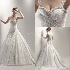 royal beaded lace embroidered off shoulder strap taffeta A-line bridal wedding dress