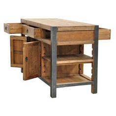Kosas Home Willow Pine Portable Kitchen Island Wooden Kitchen Island Brown