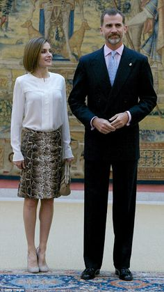 Queens & Princesses - King Felipe and Queen Letizia attended the annual meeting with the Princess of the Asturias foundation which was held at El Pardo Palace in Madrid.