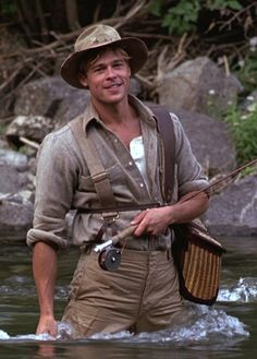 A River Runs Through It--One of my favorite movies of all time. Brad Pitt is so cute! Trout Fishing, Fly Fishing, Fishing Tips, Brad Pitt Photos, Brad And Angelina, Movie Club, Run Through, Foto Art, Por Tv