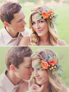 Love the colours in this headpiece - California Engagement Shoot by Tina Chiou Photography