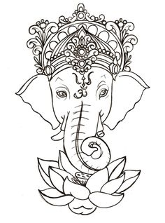 "Ganesh- god of obstacles and wisdom. I'd love this below my ""Ancora imparo"""