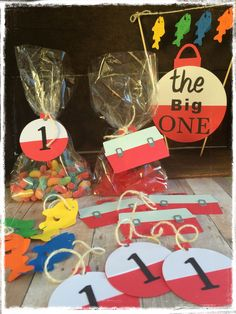 Fishing theme birthday party treat bags and tags by BBAHomemade