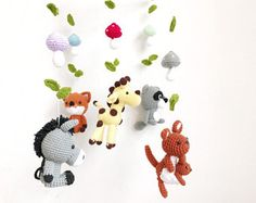 woodland mobile, forest animal mobile, baby mobile, forest creatures mobile, raccoon, kangaroo, giraffe, donkey, fox,