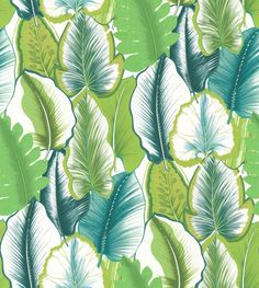 Malfa Emeraude wallpaper by Manuel Canovas Colorful Wallpaper, Fabric Wallpaper, Wallpaper Ideas, Application Pattern, Tropical Bathroom, Tropical Design, Tropical Prints, Tropical Fabric, Motif Floral