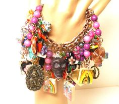 Day of the Dead Bracelet Purple and Pink Turquoise Skull