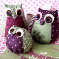 Owl Dolls purples and green, very cute.   Pinned for BabyBump, the #1 mobile pregnancy tracker with the built-in community for support and sharing.