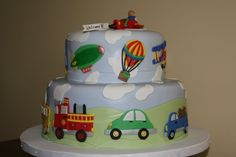 Baby Shower Vehicles Cake Shower cake for a baby boy. All decorations made with fondant. Toddler Birthday Cakes, 4th Birthday Cakes, 2nd Birthday Parties, Boy Birthday, Fondant, Cakes For Boys, Boy Cakes, Cupcakes, Baby Shower Cakes