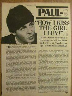 Paul McCartney, The Beatles, Full Page Vintage Clipping Paul Mccartney Birthday, My Love Paul Mccartney, John Lennon Paul Mccartney, Happy Birthday Paul, Richard Starkey, Big Kiss, Sir Paul, The Fab Four, Band Aid