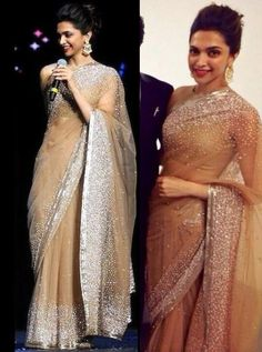 Deepika Padukone in Manish Malhotra// This is the prettiest sari I have seen. Simple but with sparklified elegance.