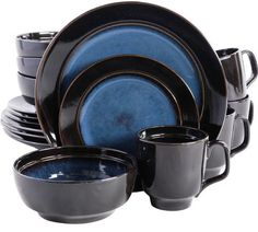 Gibson Home Paradiso 16-Piece Dinnerware Set in Black | home ...