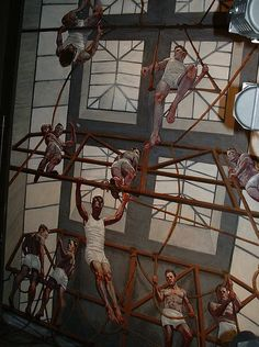 The mural of artist Mark Beard is the centerpiece of the interior of the Abercrombie and Fitch Flagship Store on Fifth Avenue in New York Ci...