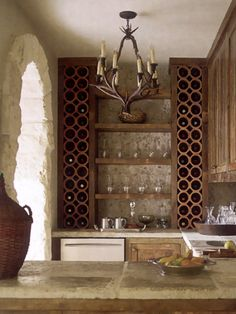 Great wine rack-Modern Italian Farmhouse - Pictures of a Rustic Italian Style Home - House Beautiful Italian Farmhouse, Rustic Italian, Italian Style Home, Houston Houses, Enchanted Home, Wood Home Decor, In Vino Veritas, Wine Storage, Storage Ideas