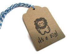 ZOO BABY SHOWER Tags, Its a Boy, Boy Baby Shower.  Zoo Theme. Lion Theme. Its A Boy. Wish Tree Tags, Gift Tags, Favor Tags - Set of 6. $8.00, via Etsy.