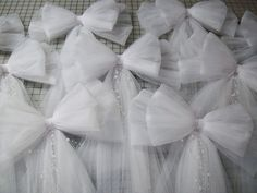 Tulle Pew Bow, grace and elegance at its best. CUSTOM CENTER EMBELLISHMENTS ALSO AVAILABLE>  This beautiful pew bow will be an elegant, formal addition