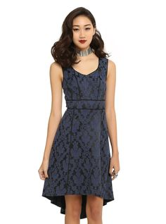 Royal Bones By Tripp Black & Blue Brocade Dress | Hot Topic