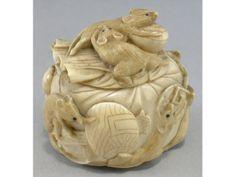 JAPANESE OKIMONO   Japanese ivory okimono carved as rat