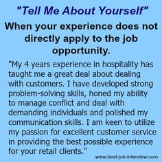 "Tell me about yourself""- sample interview answers"