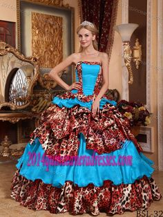 Blue Pretty Sweet Sixteen Dresses in Taffeta and Leopard with Pick-ups on Sale
