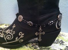 """*~*~*BOOT-A-FULL BLING!!!*~*~*    SUPER CUTE BOOT JEWELRY/BOOT ANKLET/BOOT CANDY/BOOT BLING    (Does Not Include the Boots)    Measures 14"""" w/1"""" Extender    Black    Cross Pendant    One of a kind!!"""