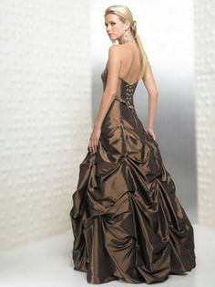 2012 Style Ball Gown Strapless Beading  Sleeveless Floor-length Taffeta Brown Prom Dress / Evening Dress