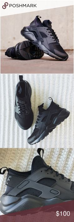 Nike Triple Black Air Huarache Ultra Sneakers •The Nike Air Huarache Ultra Men's Shoe features a perforated foam and mesh upper and midsole-outsole combo for enhanced breathability and lightweight comfort. An elastic strap and rubber cage on the heel delivers a classic Huarache look.  •Men's size 6 = Women's size 7.5, true to size.  •New in box (no lid)  •NO TRADES/HOLDS/PAYPAL/MERC/VINTED/NONSENSE. Nike Shoes Sneakers