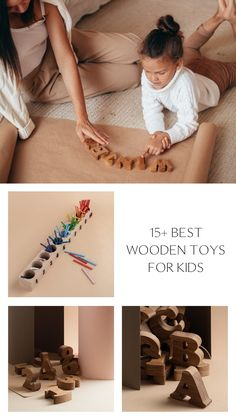 15 Montessori Wooden Toys for Kids by HappyTreeStore. Waldorf and Educational toys is the best gift for your baby. Colored forest, dolls playset, mushrooms, balls in plates, pyramids, rainbow, alphabet, numbers, memory games with animals from eco wood #woodentoy #kids #education